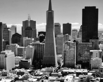San Francisco, California City Skyline - Transamerica Pyramid Building - Black & White Photo Poster Wall Art Image - 8x10 or 16x20
