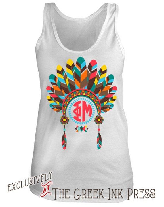 Items similar to big chief monogram design custom sorority for Sorority t shirts designs