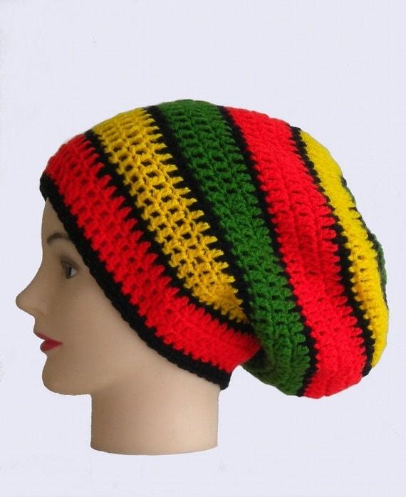 Rasta Striped Dreadlock Hat Big Slouchy Beanie By