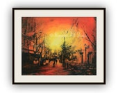 PRINT, Cape Town, South Africa, city scene, urban art, original mixed media collage, Mother City, yellow, orange, red, glow, sunrise, sunset