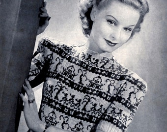 1940's Fair Isle Jumper Pattern | INSTANT DOWNLOAD | Reproduction Of Vintage Bestway Knitting Pattern | Women Sweater Chinese Willow Design