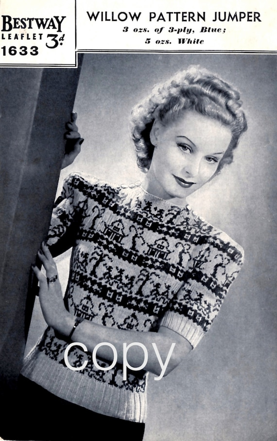 1940s Teenage Fashion: Girls PDF 1940s Fair Isle Jumper Pattern. Instant Download. Reproduction Of Vintage Bestway Knitting Pattern. Women Sweater Chinese Willow Design $1.96 AT vintagedancer.com