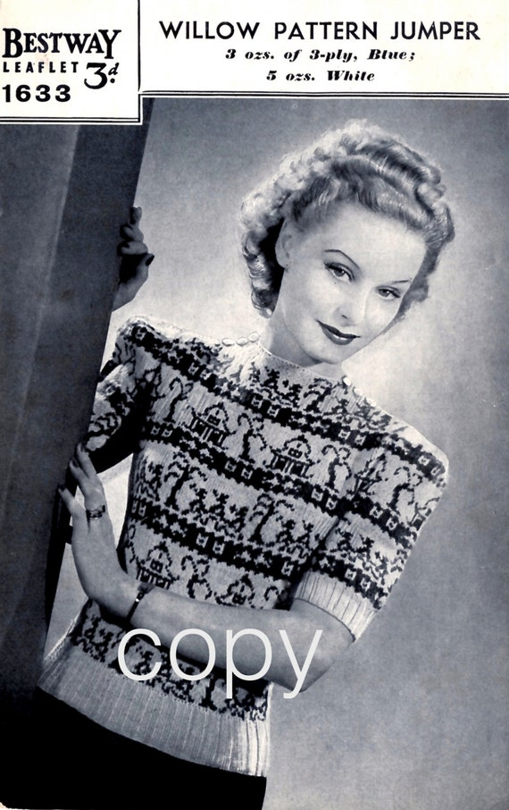 1940s Sewing Patterns – Dresses, Overalls, Lingerie etc PDF 1940s Fair Isle Jumper Pattern. Instant Download. Reproduction Of Vintage Bestway Knitting Pattern. Women Sweater Chinese Willow Design $1.96 AT vintagedancer.com