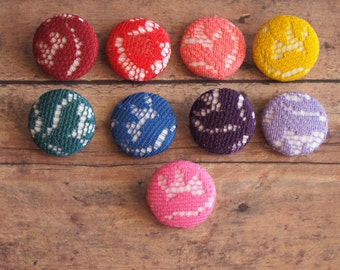 Colorful lace and  fabric covered buttons (size 60, 40, 32, 20, or 18) red lace buttons, coral lace buttons, blue lace buttons, pink lace