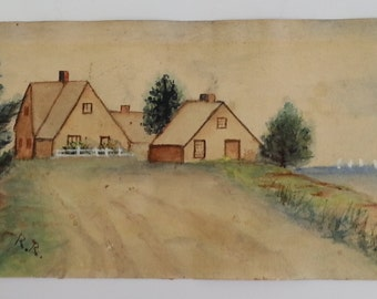 Antique Watercolor/mixed media painting dated 1906
