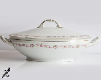 """Vintage Covered Vegetable Bowl / Soup Tureen H & Co Bavaria Heinrich Marquis Pink Roses 12"""" Gold Trim - Made in Germany"""