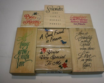 Set of 7 Friends, Love,  and Laughter Rubber Stamps