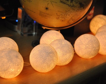 20 White Cotton Ball String Lights for Party,bedroom, birthday light and decorations