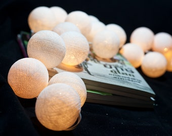 20 White Cotton Ball String Lights for Decor Bedroom Wedding Patio Party Garden Spa and Holiday lighting Indoor Outdoor