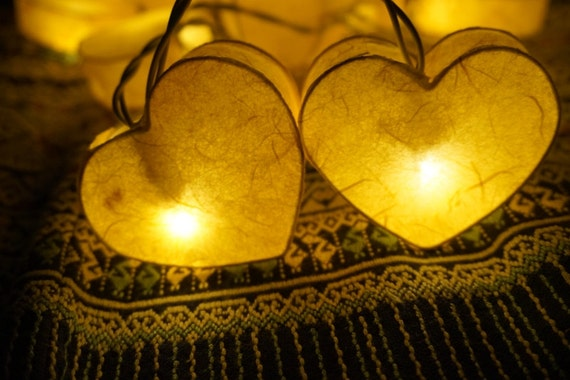 20 Bulbs Yellow Heart Paper Lantern String Lights for Party
