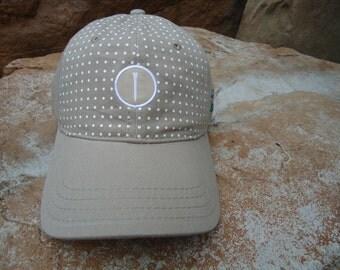 Women's Golf Hat Khaki with Woven Label Tee Design | Great Golf Gift Idea!