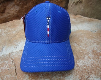 Men's Dri Mesh Golf Hat Royal Blue with Embroidered USA Flag Tee Design | Great Golf Gift Item