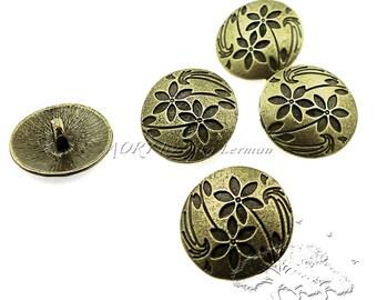 10 pcs Antique Bronze Color Metal Buttons with Flowers, 17mm