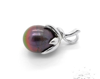 925 Sterling Silver Pendant with Large Pearl, Weight 4.2g, Size 25x12mm