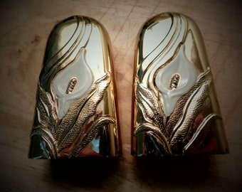 Vintage Gold Finish Calla Lily Salt and Pepper Shakers