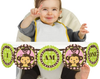 Monkey Girl - 1st Birthday - I Am One - First Birthday High Chair Banner - First Birthday Party Decorations