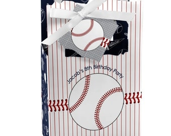 Batter Up! Baseball Favor Boxes - Custom Birthday Party and Baby Shower Supplies - Set of 12