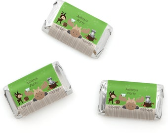 Woodland Mini Candy Bar Wrappers - Woodland Animals Personalized Baby Shower & Birthday Hershey® Miniature Candy Bar Sticker Labels - 20 Ct