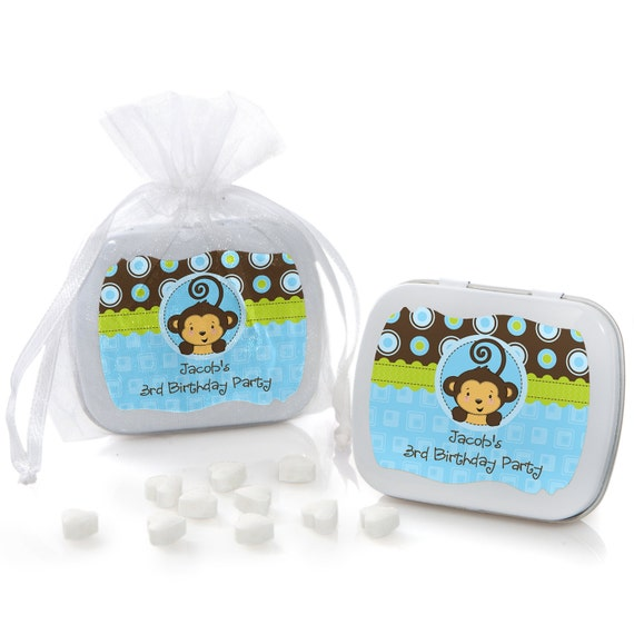 Monkey boy mint tin party favors baby shower or birthday party custom party supplies 12 - Monkey baby shower favors ideas ...