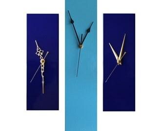 CLC Contemporary Slim Long Wall Clock BLUE 30cm or 40cm