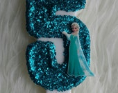 """Frozen queen Elsa turquoise glitter large 5"""" number birthday candle, comes in any number you like"""