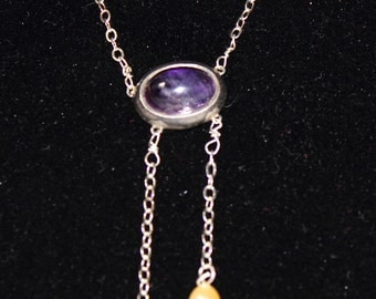 SALE Sterling Silver Amethyst Necklace