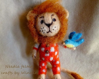 Lionel Lion and his blue bird OOAK handmade Needle felted wool lion
