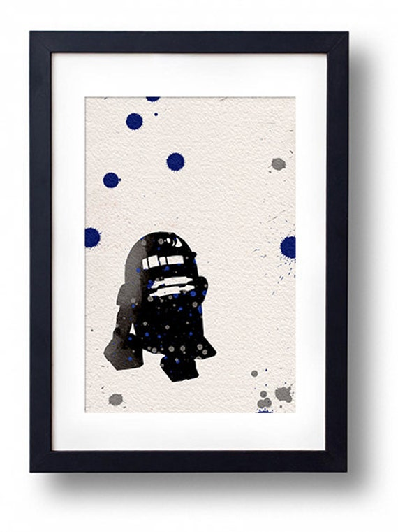Star wars r2d2 watercolor illustrations art sci fi poster wall for Sci fi home decor