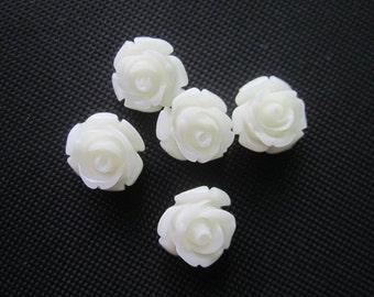 Coral Rose Flower 12mm Cabochon beads White Color  JC024/ 10pcs