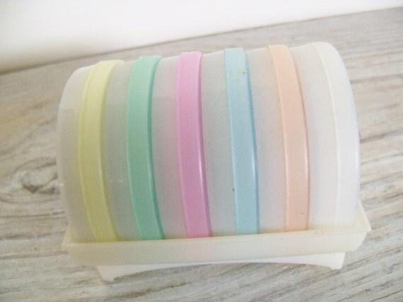 6 Tupperware Coasters with Cradle Vintage Tupperware Wagon Wheel Coasters Sheer White Tupperware Pastels Orlando Florida USA 567 1970s