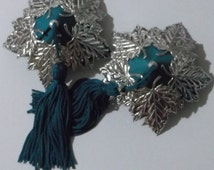 DAPHNE Teal & Silver Leaf Nipple Tassels Pasties Covers Burlesque