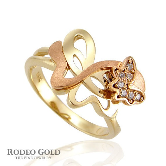 pop up butterfly gold ring by rodeogoldcom on etsy
