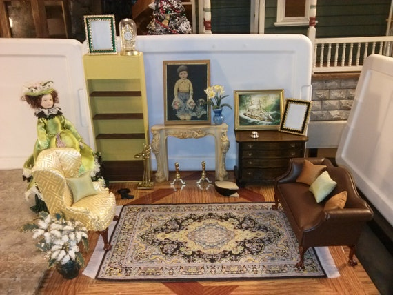 High Quality Dollhouse Furniture Living Room Set Lot Fireplace
