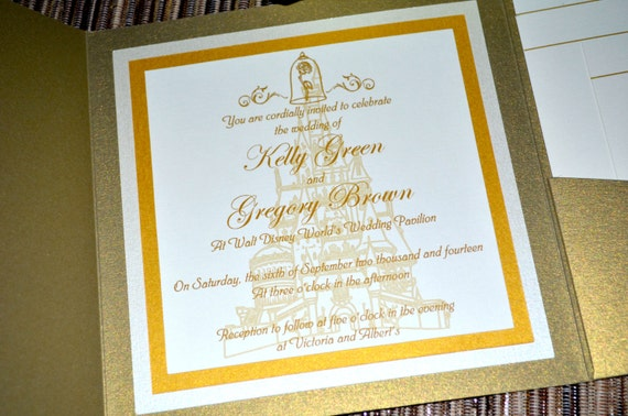 Beauty And The Beast Themed Wedding Invitations: Fairy Tale Wedding Invitations Beauty And The Beast Pocket