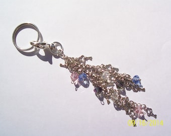 Key Chain Pink Blue Lavender Beaded Skeleton Keys Key Fob