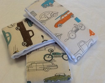 Set of 3 baby burp cloths in Retro Rides vintage cars