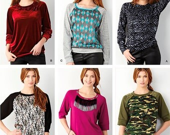 Simplicity Sewing Pattern 1317 Misses' Pullover Decorated Knit Top