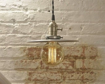 Unfinished Steel Flat Shade Industrial Pendant Light Fixture Rustic Vintage