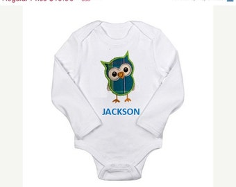 SALE 40% OFF- Cute Baby Boy Clothes- Personalized Owl Shirt