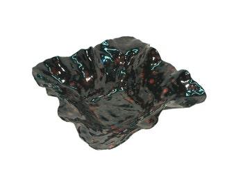 Handmade ceramic black and red pinch dish