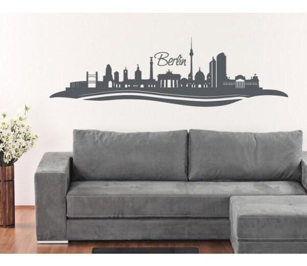 Berlin skyline wall decal sticker mural vinyl wall art - Klebefieber wandtattoos ...