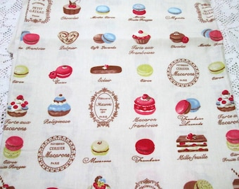 Fat Quarter ~  FRENCH PATISSERIES Petit Gateau Macaroon 100% Cotton Fabric
