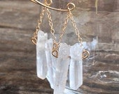 Harmony Earrings - Raw Natural Crystal Shards w/ Large  Gold Filled Loop Earwires & Chain - Boho - Modern Goddess