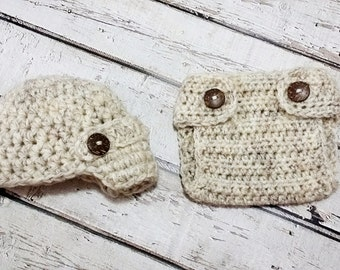 Newborn Baby Boy Photo Prop Handmade Crochet Diaper Cover, Crochet Diaper Cover and Hat Set * Wheat