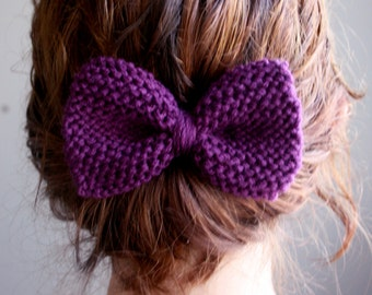 Knit Hair Bow in Purple