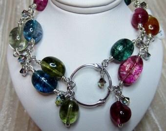 Multi color quartz double row bracelet