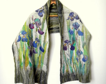 Blue iris shawl Silk felt scarf Hand painted silk scarf with flowers Nunofelt Warm shawl Floral Mother's Day gift Boho chic Gift for wife