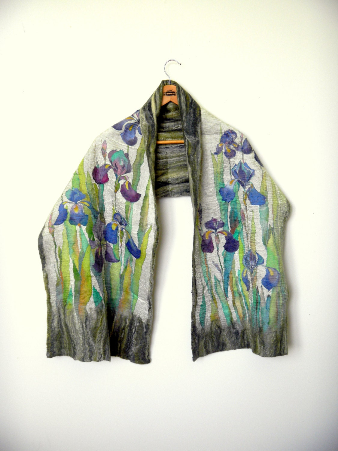 blue iris shawl silk felt scarf fall shawl painted silk
