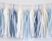 Baby Blue tassel garland party decoration // wedding decor // baby shower