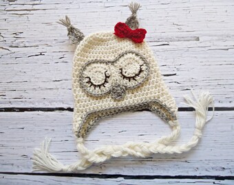 Crochet Owl Hat, Newborn Owl hat, Baby Owl hat, Ecru owl hat